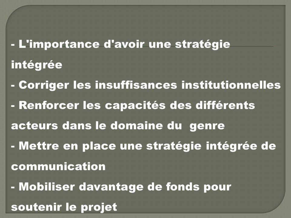 - L importance d avoir une stratégie intégrée - Corriger les insuffisances institutionnelles - Renforcer les capacités des différents acteurs dans le domaine du genre - Mettre en place une stratégie intégrée de communication - Mobiliser davantage de fonds pour soutenir le projet