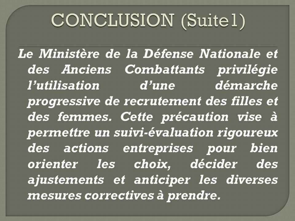 Le Ministère de la Défense Nationale et des Anciens Combattants privilégie lutilisation dune démarche progressive de recrutement des filles et des femmes.