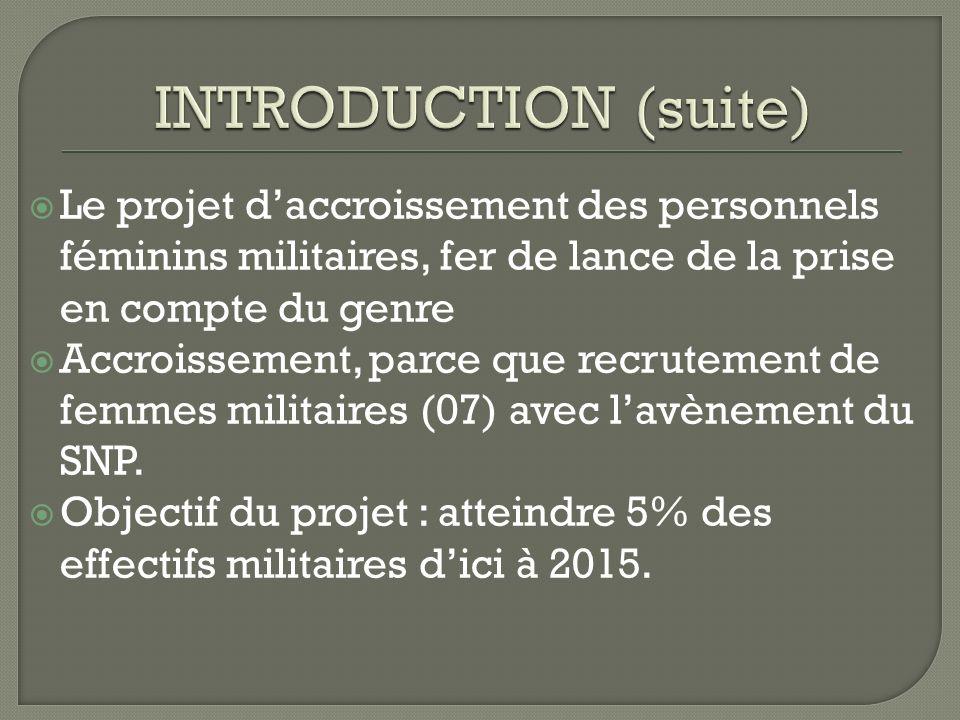 Le projet daccroissement des personnels féminins militaires, fer de lance de la prise en compte du genre Accroissement, parce que recrutement de femmes militaires (07) avec lavènement du SNP.
