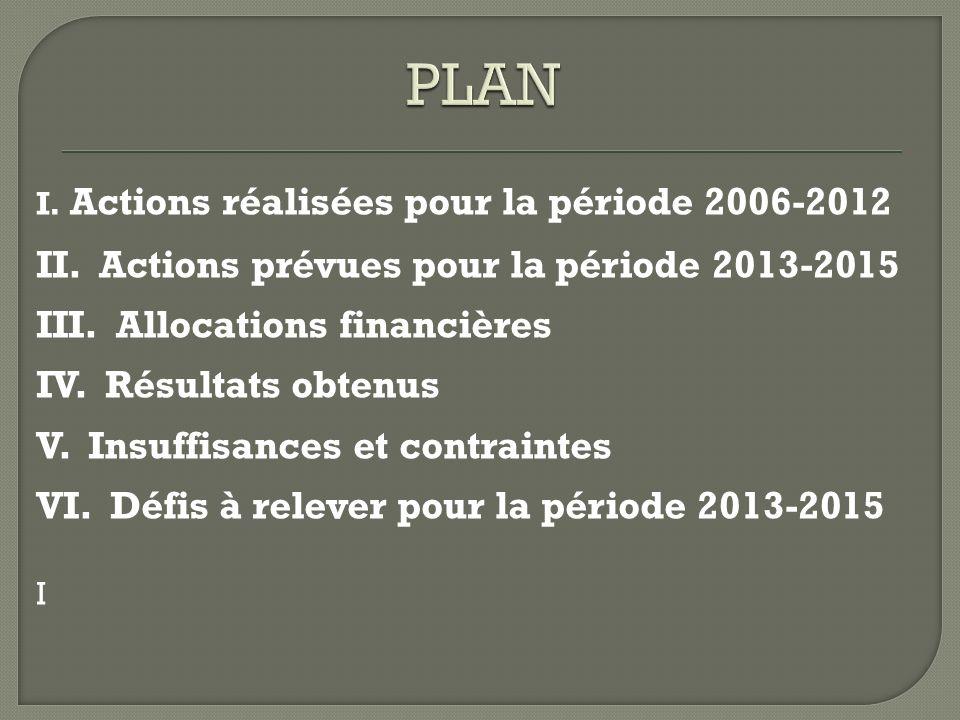 I. Actions réalisées pour la période 2006-2012 II. Actions prévues pour la période 2013-2015 III. Allocations financières IV. Résultats obtenus V. Ins