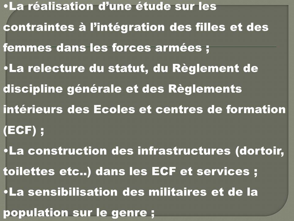 La réalisation dune étude sur les contraintes à lintégration des filles et des femmes dans les forces armées ; La relecture du statut, du Règlement de