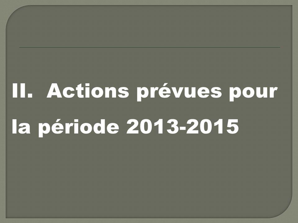 II. Actions prévues pour la période 2013-2015