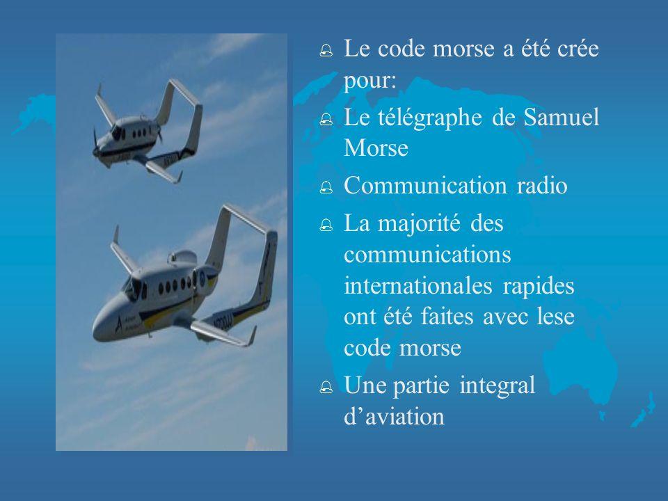 % Le code morse a été crée pour: % Le télégraphe de Samuel Morse % Communication radio % La majorité des communications internationales rapides ont été faites avec lese code morse % Une partie integral daviation