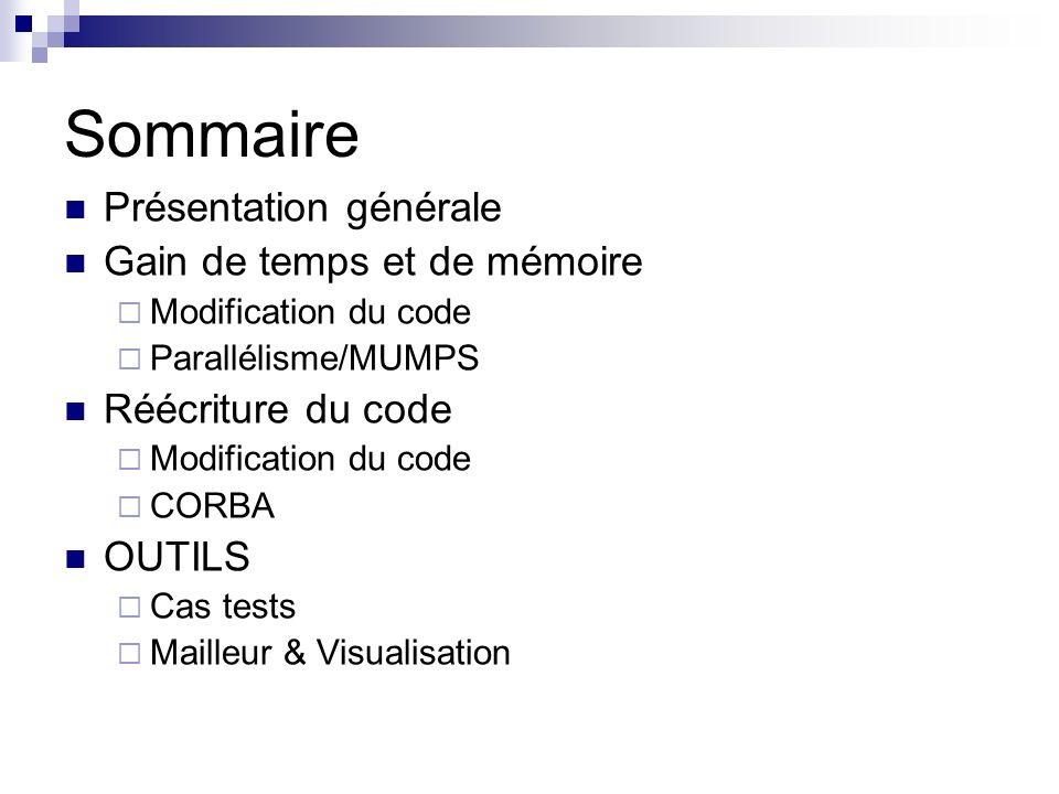 Sommaire Présentation générale Gain de temps et de mémoire Modification du code Parallélisme/MUMPS Réécriture du code Modification du code CORBA OUTILS Cas tests Mailleur & Visualisation