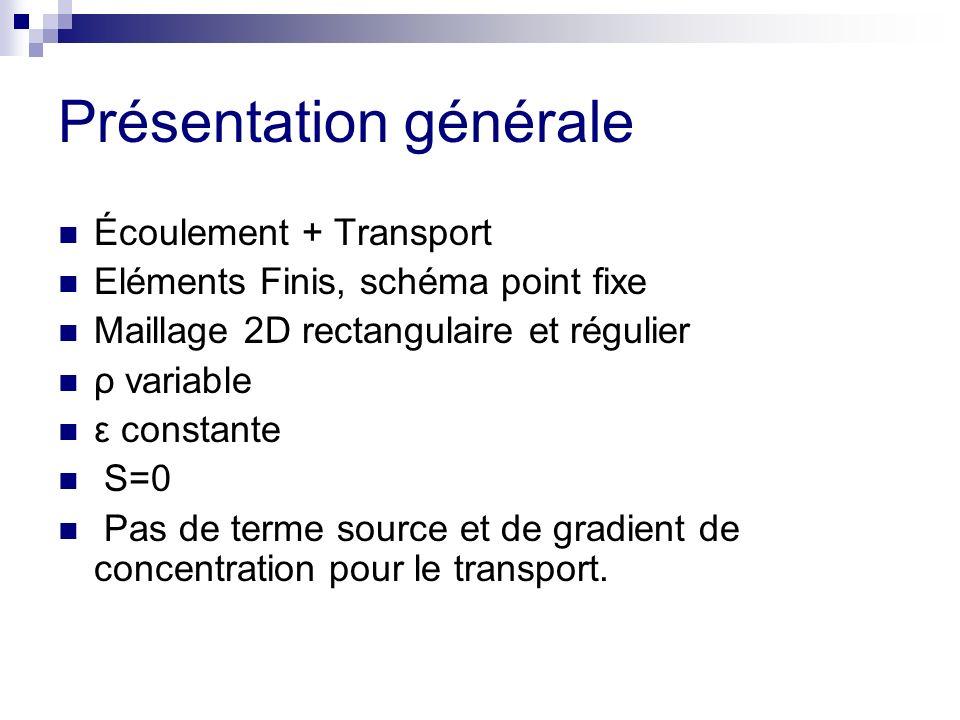 Présentation générale Écoulement + Transport Eléments Finis, schéma point fixe Maillage 2D rectangulaire et régulier ρ variable ε constante S=0 Pas de terme source et de gradient de concentration pour le transport.