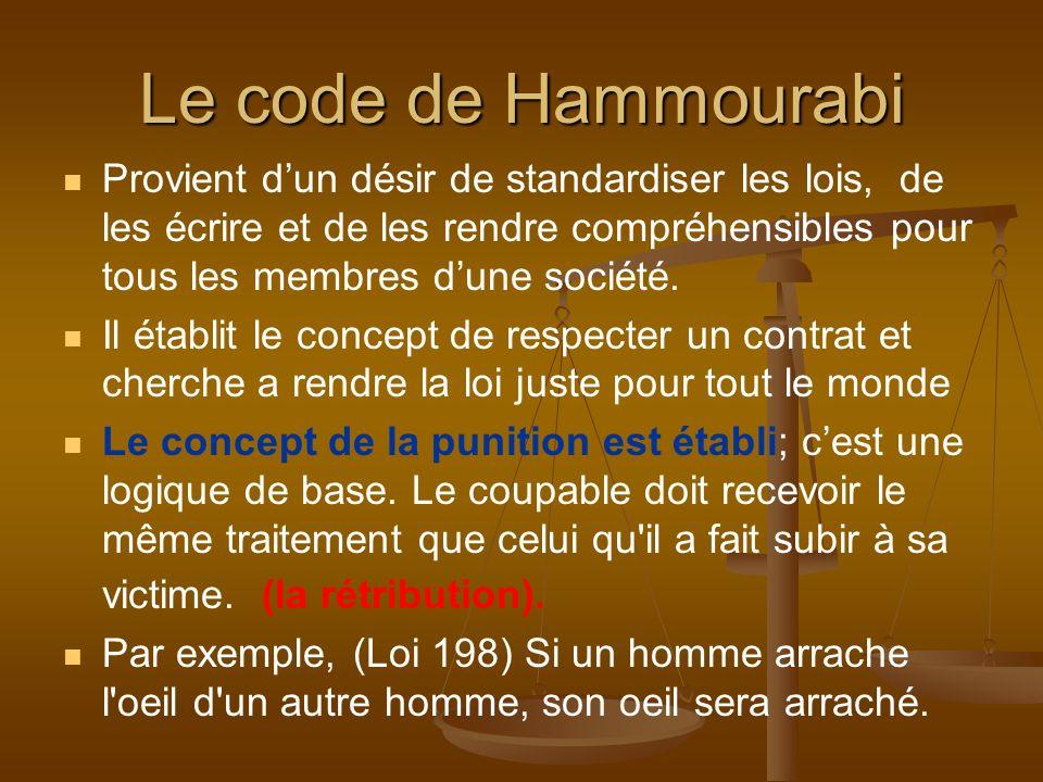 Le code de Hammourabi Provient dun désir de standardiser les lois, de les écrire et de les rendre compréhensibles pour tous les membres dune société.