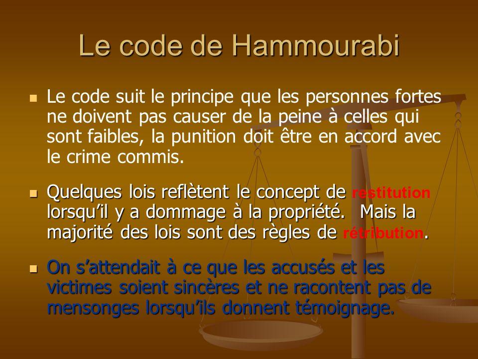 Le code suit le principe que les personnes fortes ne doivent pas causer de la peine à celles qui sont faibles, la punition doit être en accord avec le