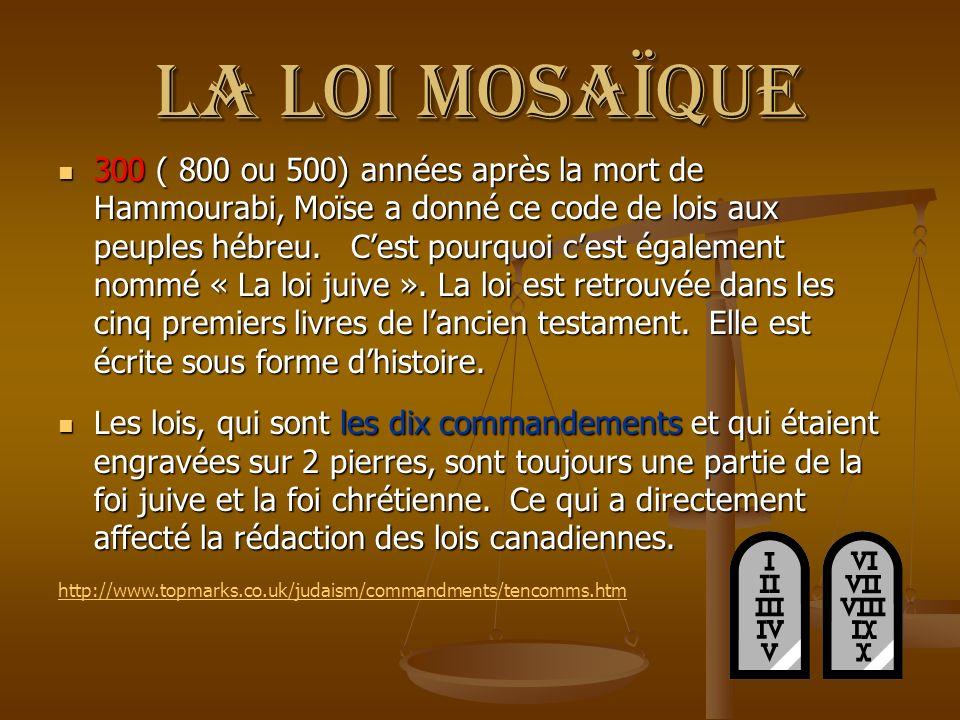La loi mosaïque 300 ( 800 ou 500) années après la mort de Hammourabi, Moïse a donné ce code de lois aux peuples hébreu. Cest pourquoi cest également n