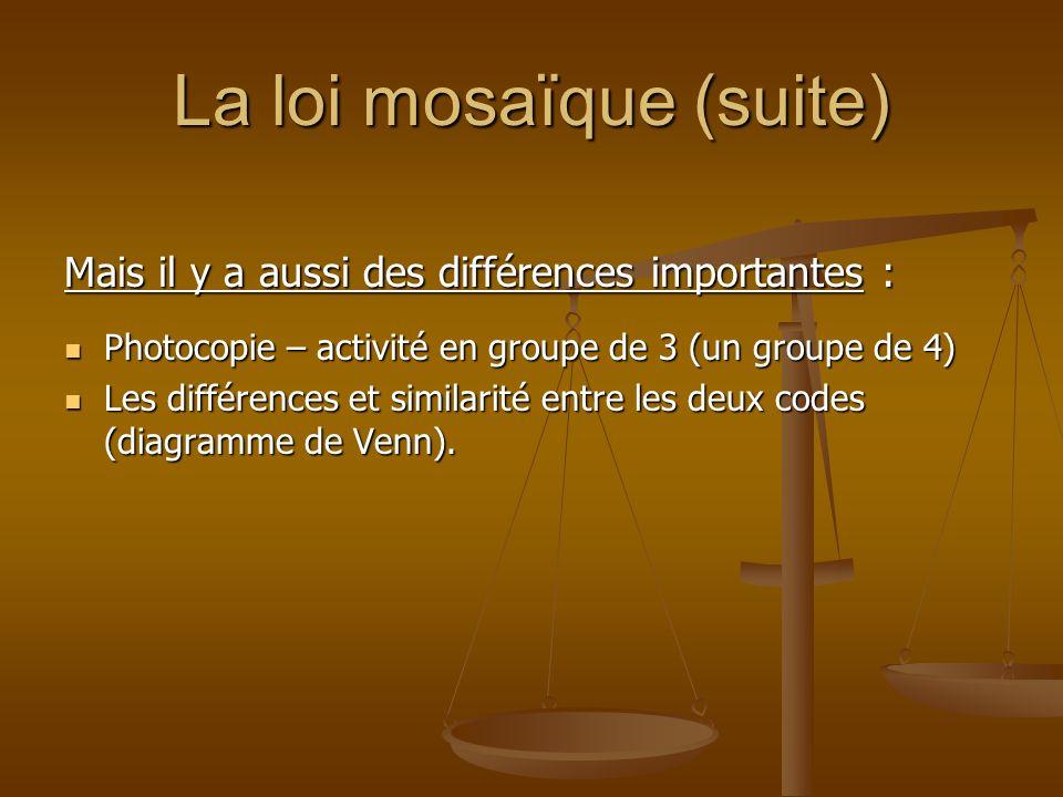 La loi mosaïque (suite) Mais il y a aussi des différences importantes : Photocopie – activité en groupe de 3 (un groupe de 4) Photocopie – activité en