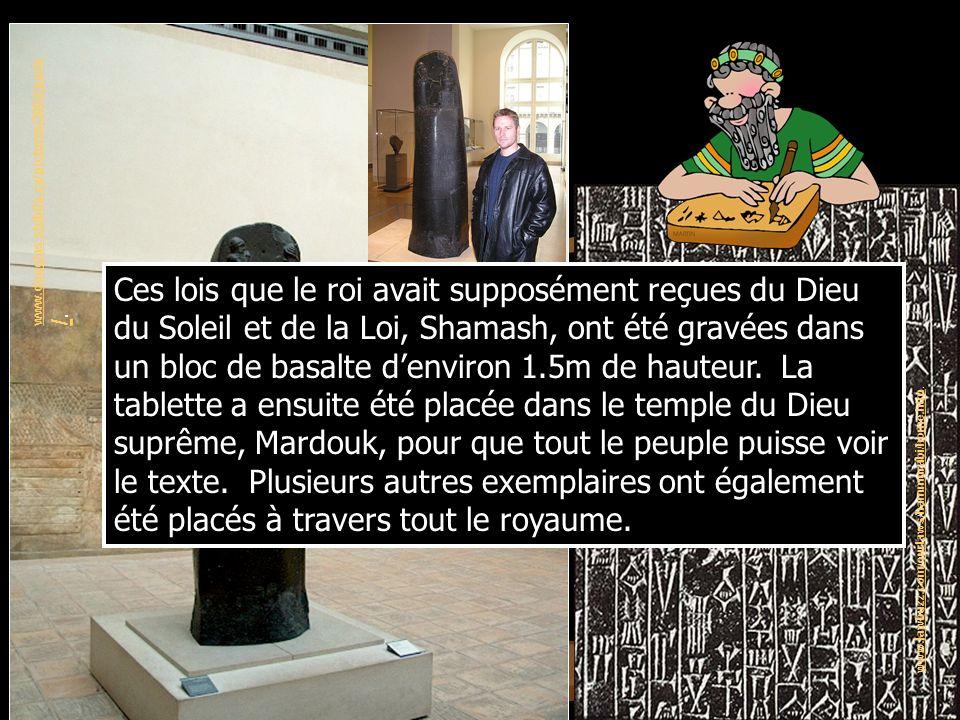 http://www.concurringopinions.com/archives/2007/03/a_law_student_c_1.html Hammourabi reçoit les lois du Dieu du Soleil et de la Loi, Shamash.