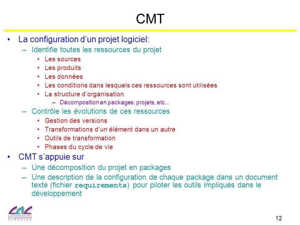 12 CMT La configuration dun projet logiciel: –Identifie toutes les ressources du projet Les sources Les produits Les données Les conditions dans lesqu