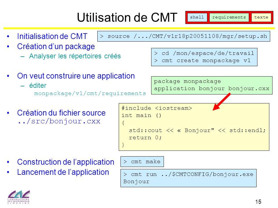 15 Utilisation de CMT. Initialisation de CMT Création dun package –Analyser les répertoires créés On veut construire une application –éditer monpackag