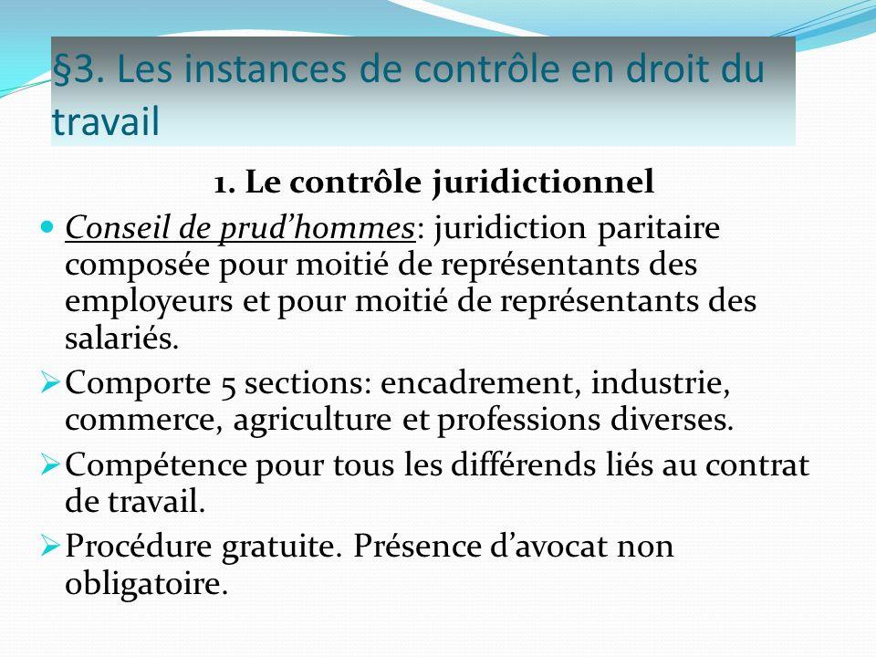 §3. Les instances de contrôle en droit du travail 1. Le contrôle juridictionnel Conseil de prudhommes: juridiction paritaire composée pour moitié de r