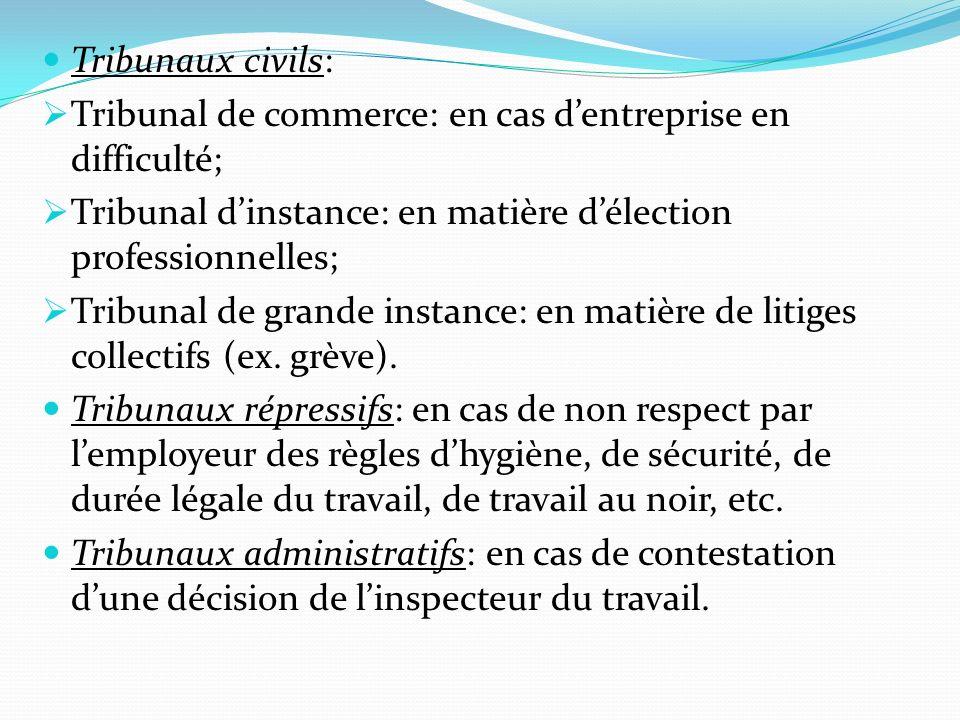 Tribunaux civils: Tribunal de commerce: en cas dentreprise en difficulté; Tribunal dinstance: en matière délection professionnelles; Tribunal de grand