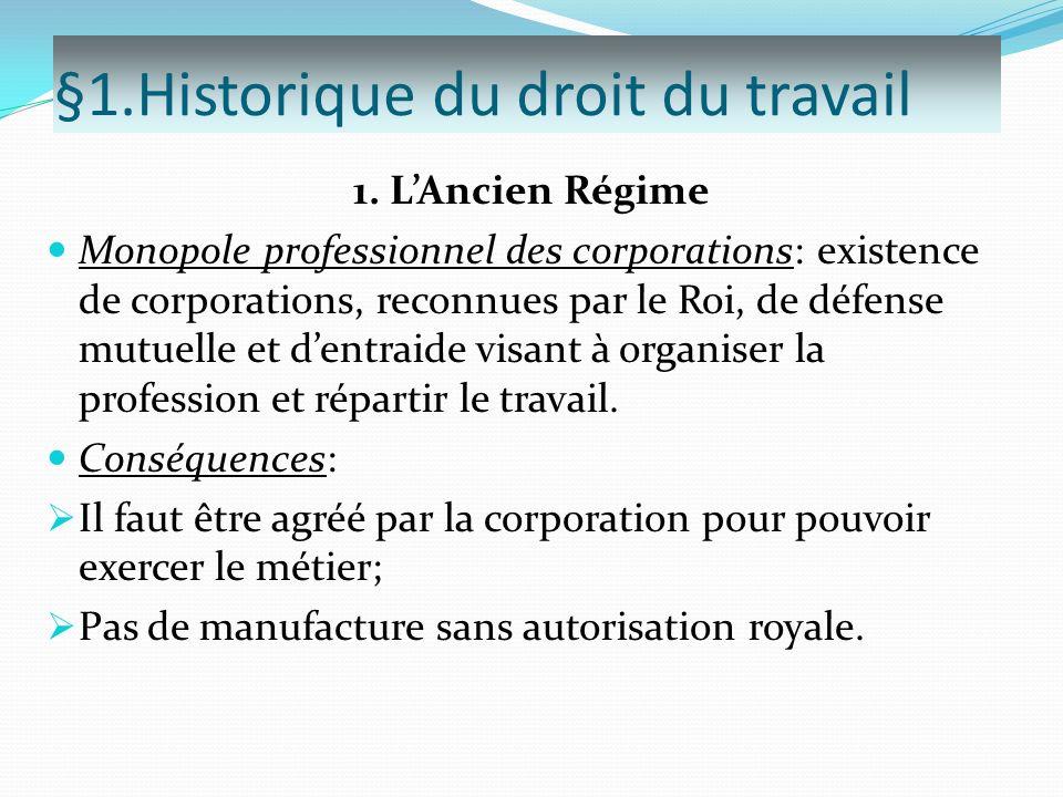 §1.Historique du droit du travail 1. LAncien Régime Monopole professionnel des corporations: existence de corporations, reconnues par le Roi, de défen
