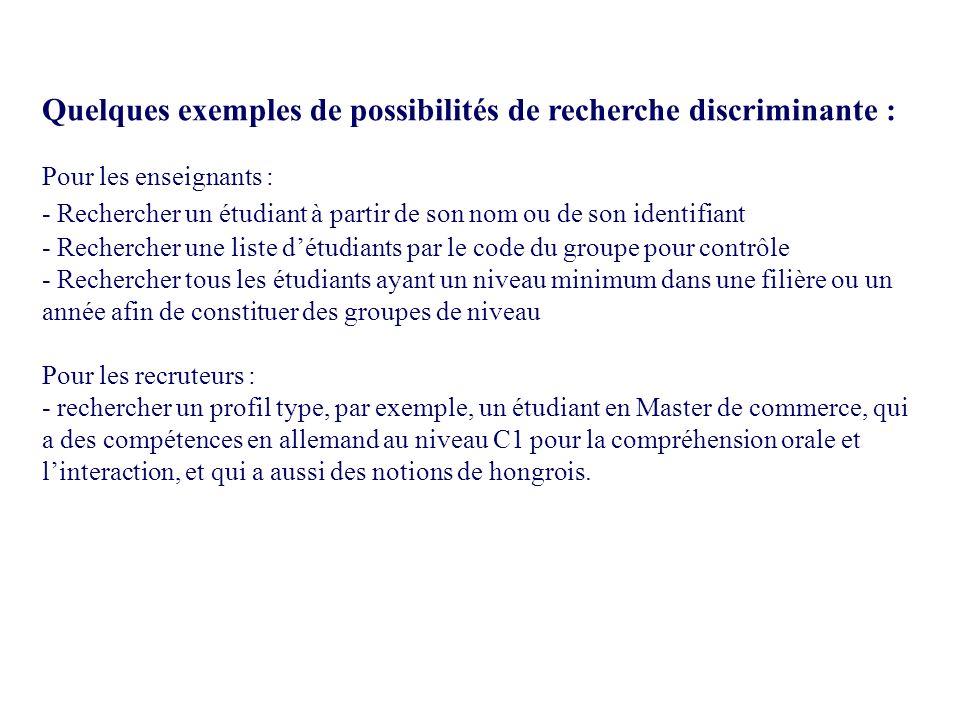Quelques exemples de possibilités de recherche discriminante : Pour les enseignants : - Rechercher un étudiant à partir de son nom ou de son identifia