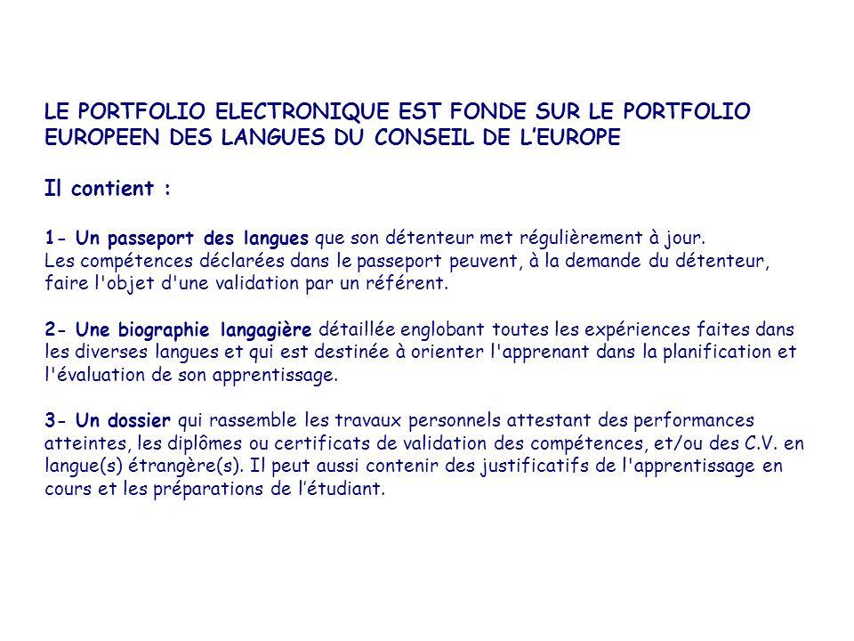 LE PORTFOLIO ELECTRONIQUE EST FONDE SUR LE PORTFOLIO EUROPEEN DES LANGUES DU CONSEIL DE LEUROPE Il contient : 1- Un passeport des langues que son déte
