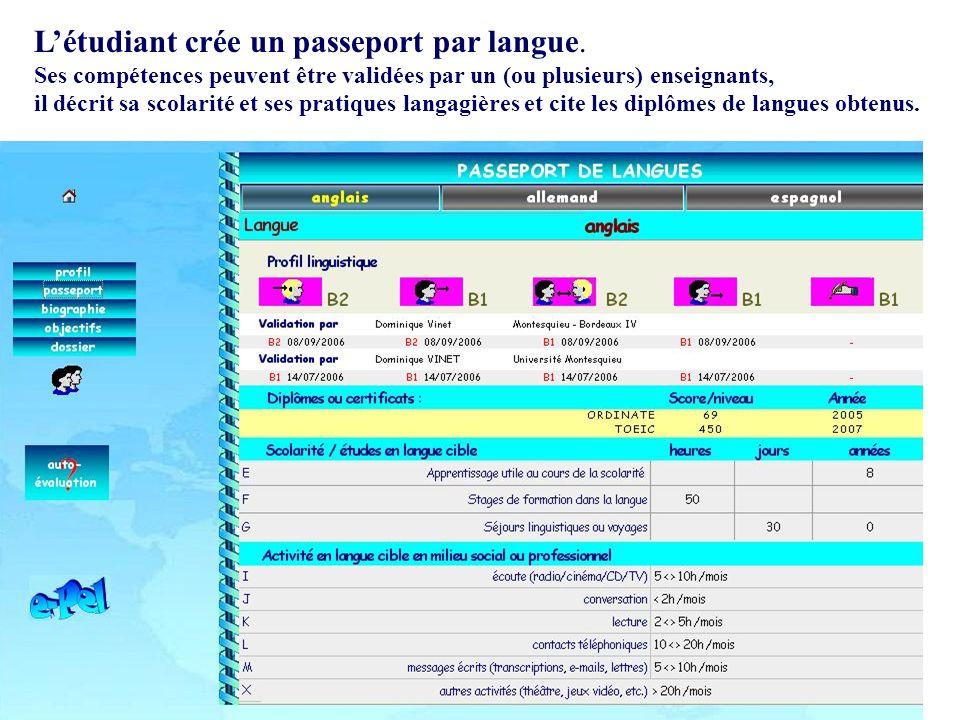 Létudiant crée un passeport par langue. Ses compétences peuvent être validées par un (ou plusieurs) enseignants, il décrit sa scolarité et ses pratiqu
