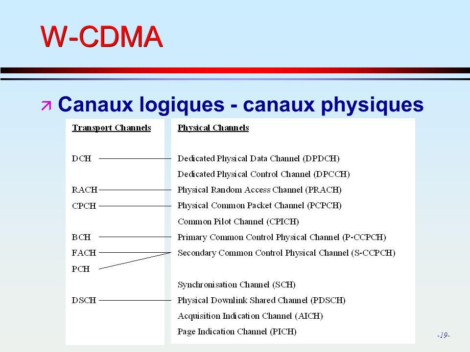 -19- W-CDMA ä Canaux logiques - canaux physiques
