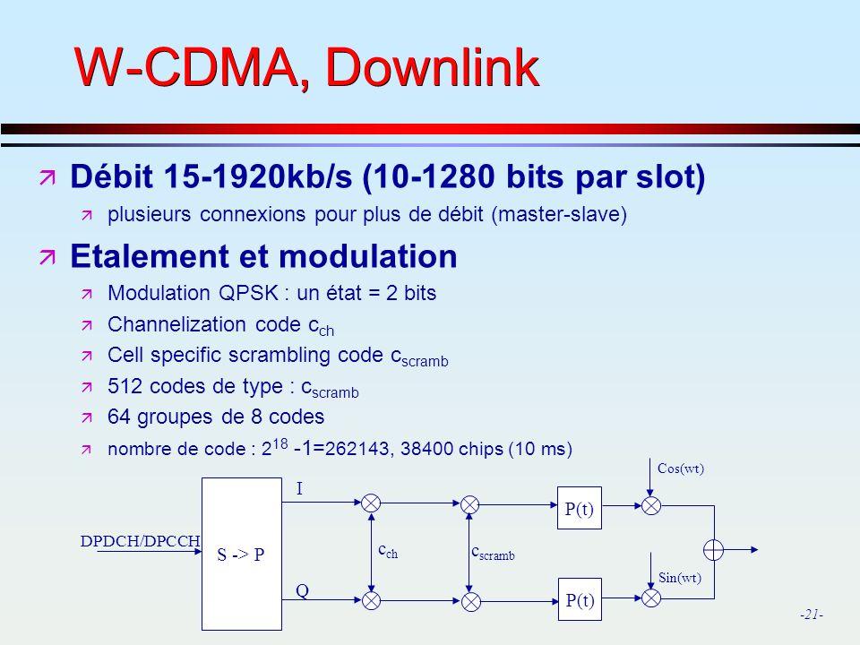 -21- W-CDMA, Downlink ä Débit 15-1920kb/s (10-1280 bits par slot) ä plusieurs connexions pour plus de débit (master-slave) ä Etalement et modulation ä Modulation QPSK : un état = 2 bits ä Channelization code c ch ä Cell specific scrambling code c scramb ä 512 codes de type : c scramb ä 64 groupes de 8 codes ä nombre de code : 2 18 -1= 262143, 38400 chips (10 ms) S -> P DPDCH/DPCCH P(t) Cos(wt) Sin(wt) I Q c ch c scramb