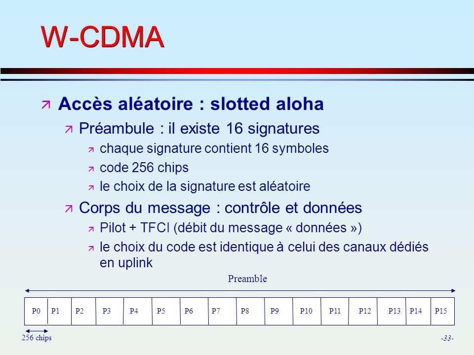 -33- W-CDMA ä Accès aléatoire : slotted aloha ä Préambule : il existe 16 signatures ä chaque signature contient 16 symboles ä code 256 chips ä le choix de la signature est aléatoire ä Corps du message : contrôle et données ä Pilot + TFCI (débit du message « données ») ä le choix du code est identique à celui des canaux dédiés en uplink P0P1P2P3P4P5P6P7P8P9P10P11P12P13P14P15 Preamble 256 chips
