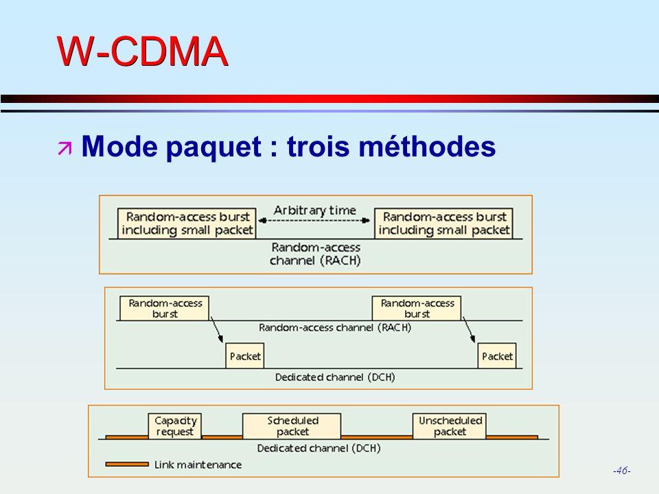 -46- W-CDMA ä Mode paquet : trois méthodes