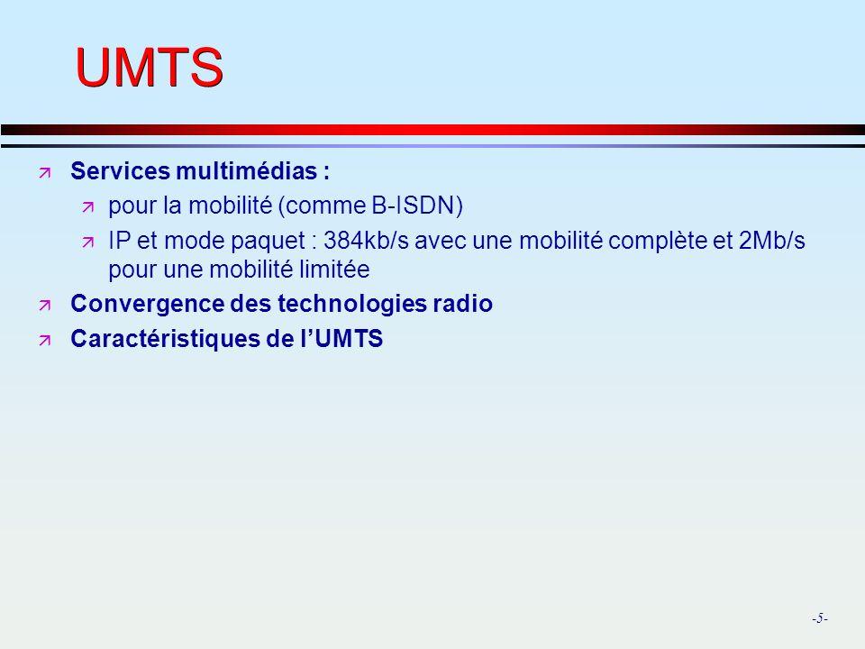 -5- UMTS ä Services multimédias : ä pour la mobilité (comme B-ISDN) ä IP et mode paquet : 384kb/s avec une mobilité complète et 2Mb/s pour une mobilité limitée ä Convergence des technologies radio ä Caractéristiques de lUMTS