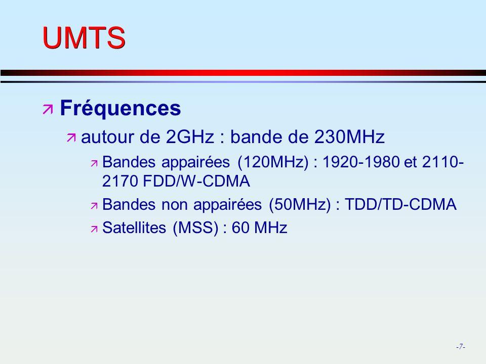 -7- UMTS ä Fréquences ä autour de 2GHz : bande de 230MHz ä Bandes appairées (120MHz) : 1920-1980 et 2110- 2170 FDD/W-CDMA ä Bandes non appairées (50MHz) : TDD/TD-CDMA ä Satellites (MSS) : 60 MHz