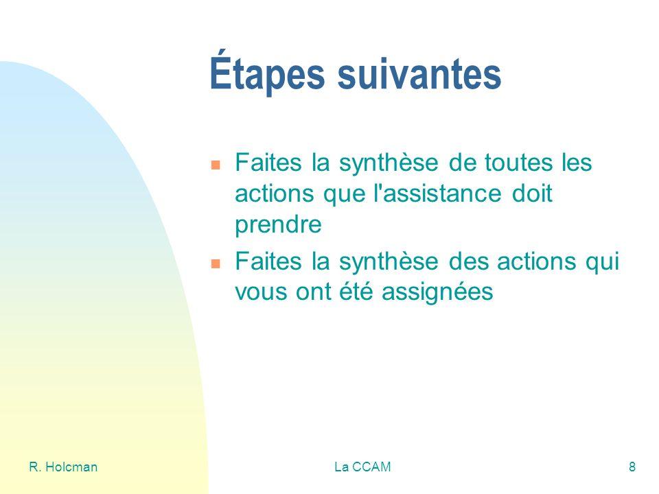 R. HolcmanLa CCAM8 Étapes suivantes Faites la synthèse de toutes les actions que l'assistance doit prendre Faites la synthèse des actions qui vous ont