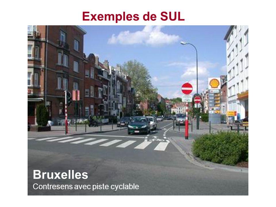 Exemples de SUL Bruxelles Contresens avec piste cyclable