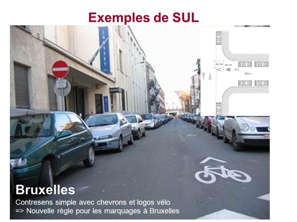 Exemples de SUL Bruxelles Contresens simple avec chevrons et logos vélo => Nouvelle règle pour les marquages à Bruxelles