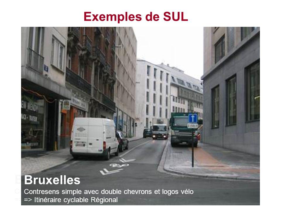 Exemples de SUL Bruxelles Contresens simple avec chevrons et logos vélo => Nouvelle règle pour les marquages à Bruxelles Bruxelles Contresens simple a