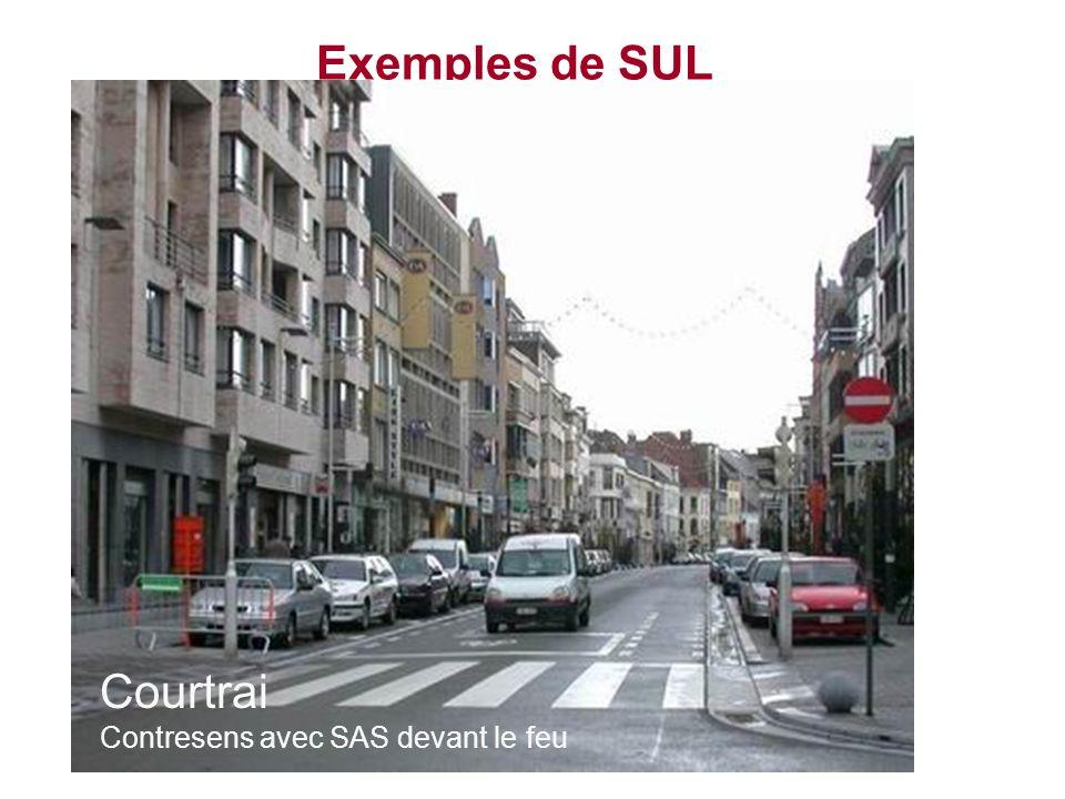 Exemples de SUL Courtrai Contresens avec SAS devant le feu