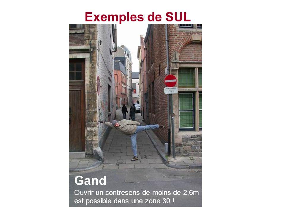 Exemples de SUL Gand Ouvrir un contresens de moins de 2,6m est possible dans une zone 30 !