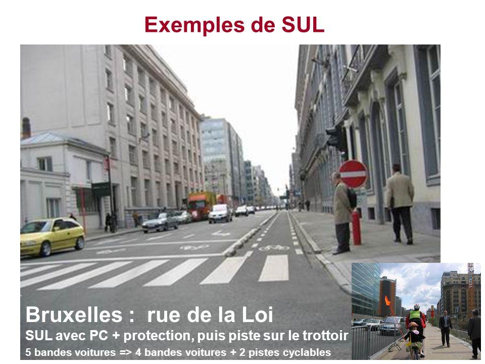 Exemples de SUL Bruxelles : rue de la Loi SUL avec PC + protection, puis piste sur le trottoir 5 bandes voitures => 4 bandes voitures + 2 pistes cycla