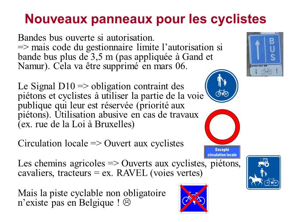 Nouveaux panneaux pour les cyclistes Bandes bus ouverte si autorisation. => mais code du gestionnaire limite lautorisation si bande bus plus de 3,5 m