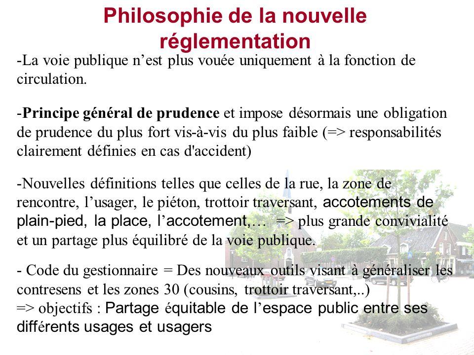 Philosophie de la nouvelle réglementation -La voie publique nest plus vouée uniquement à la fonction de circulation. -Principe général de prudence et
