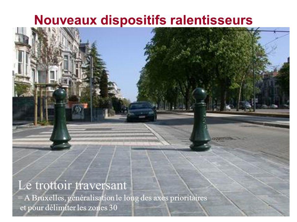 Nouveaux dispositifs ralentisseurs Le trottoir traversant = A Bruxelles, généralisation le long des axes prioritaires et pour délimiter les zones 30