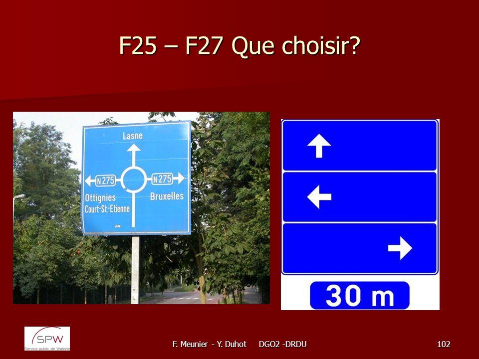 F. Meunier - Y. Duhot DGO2 -DRDU102 F25 – F27 Que choisir?