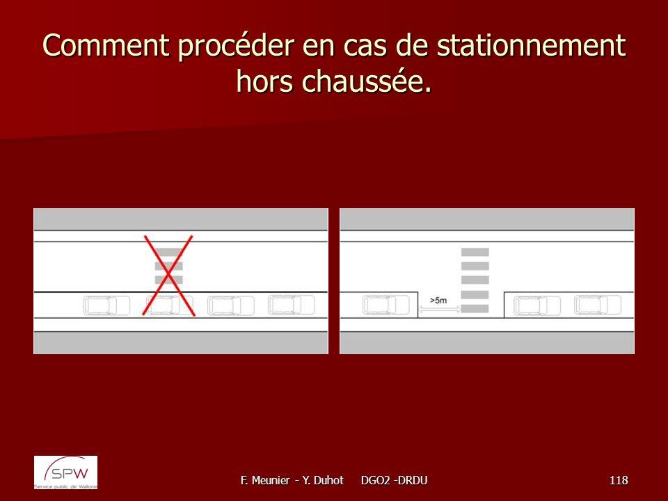 F. Meunier - Y. Duhot DGO2 -DRDU118 Comment procéder en cas de stationnement hors chaussée.