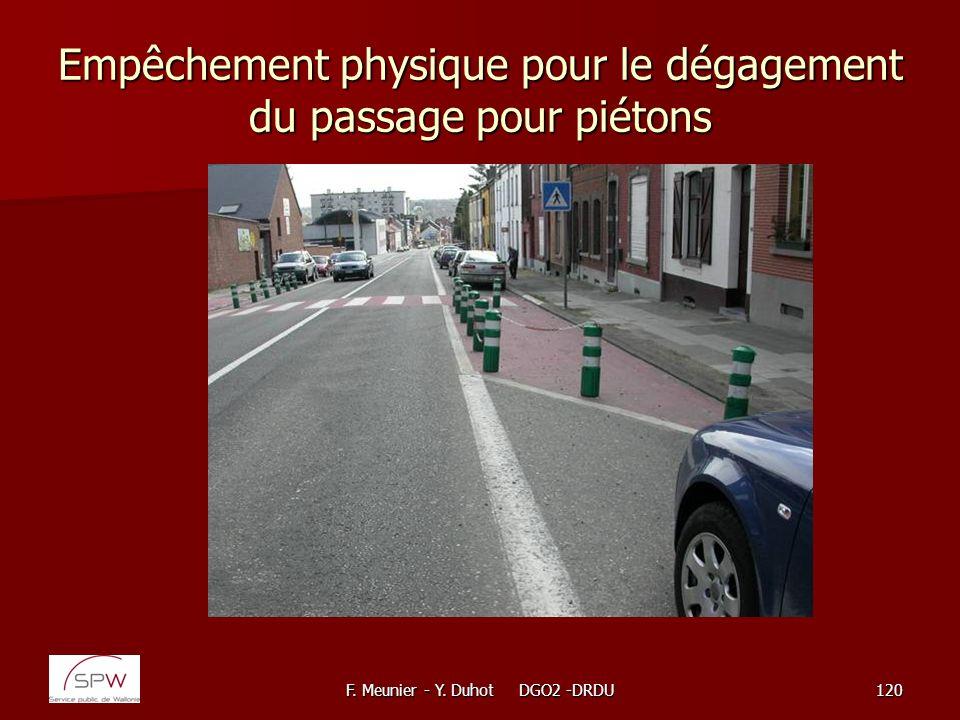 F. Meunier - Y. Duhot DGO2 -DRDU120 Empêchement physique pour le dégagement du passage pour piétons