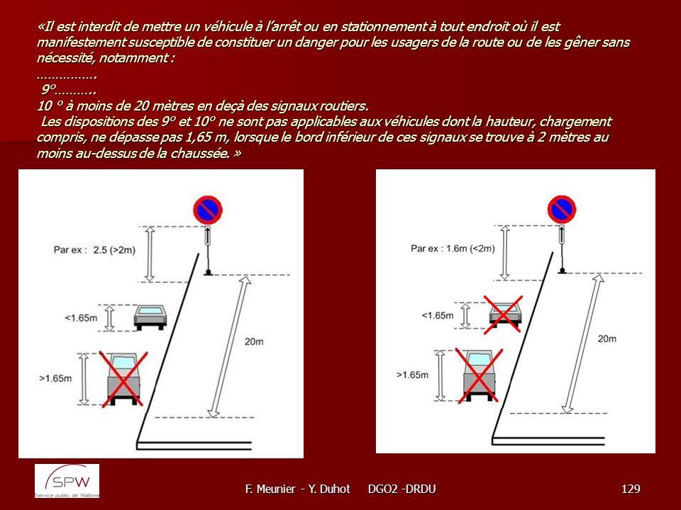 F. Meunier - Y. Duhot DGO2 -DRDU129 «Il est interdit de mettre un véhicule à larrêt ou en stationnement à tout endroit où il est manifestement suscept