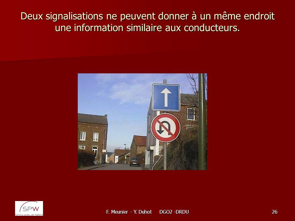 F. Meunier - Y. Duhot DGO2 -DRDU26 Deux signalisations ne peuvent donner à un même endroit une information similaire aux conducteurs.