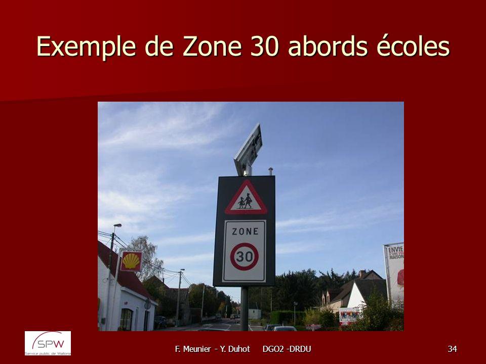 F. Meunier - Y. Duhot DGO2 -DRDU34 Exemple de Zone 30 abords écoles