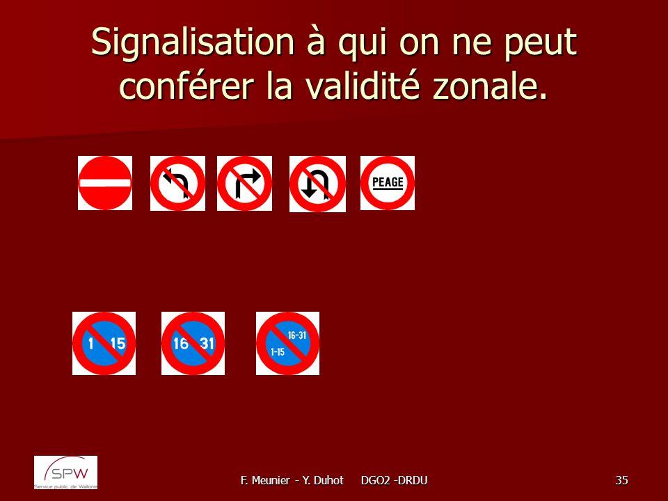 F. Meunier - Y. Duhot DGO2 -DRDU35 Signalisation à qui on ne peut conférer la validité zonale.