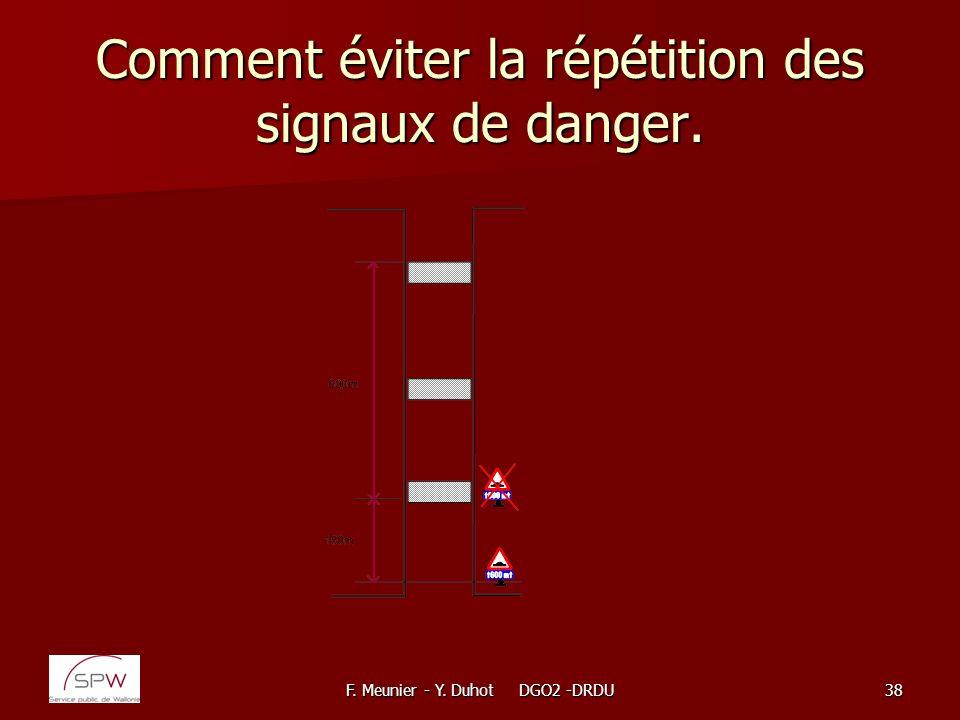 F. Meunier - Y. Duhot DGO2 -DRDU38 Comment éviter la répétition des signaux de danger.