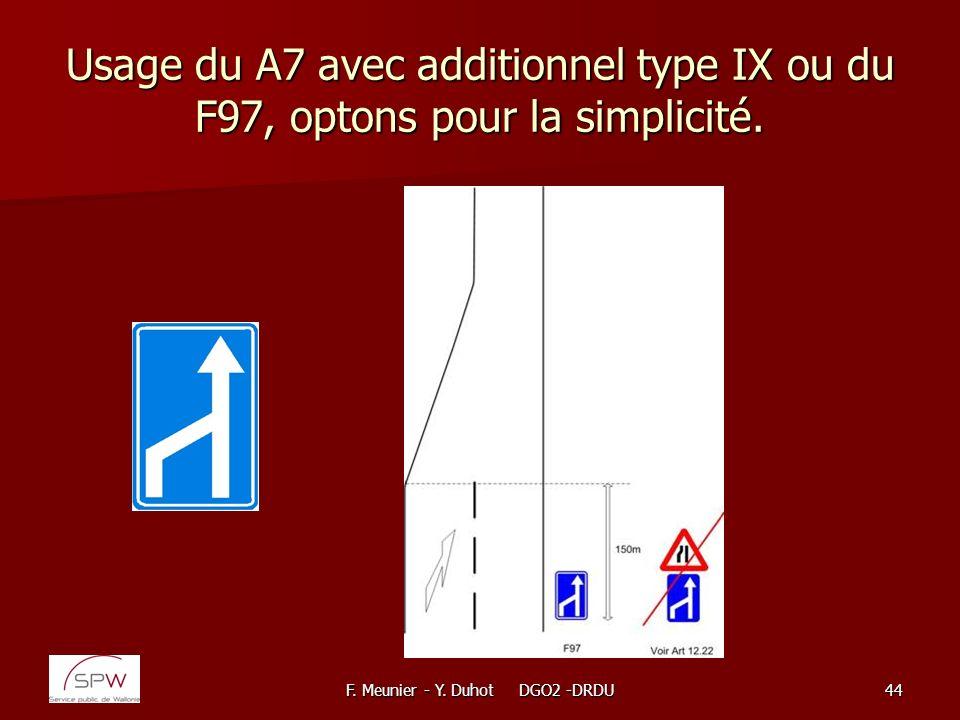 F. Meunier - Y. Duhot DGO2 -DRDU44 Usage du A7 avec additionnel type IX ou du F97, optons pour la simplicité.