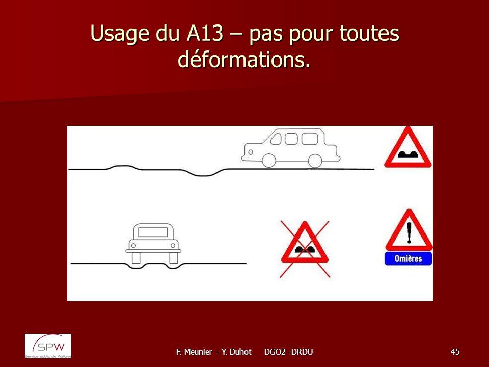 F. Meunier - Y. Duhot DGO2 -DRDU45 Usage du A13 – pas pour toutes déformations.