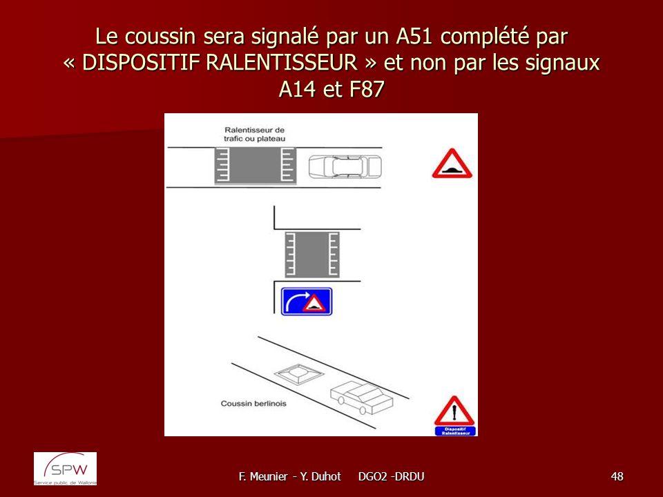 F. Meunier - Y. Duhot DGO2 -DRDU48 Le coussin sera signalé par un A51 complété par « DISPOSITIF RALENTISSEUR » et non par les signaux A14 et F87