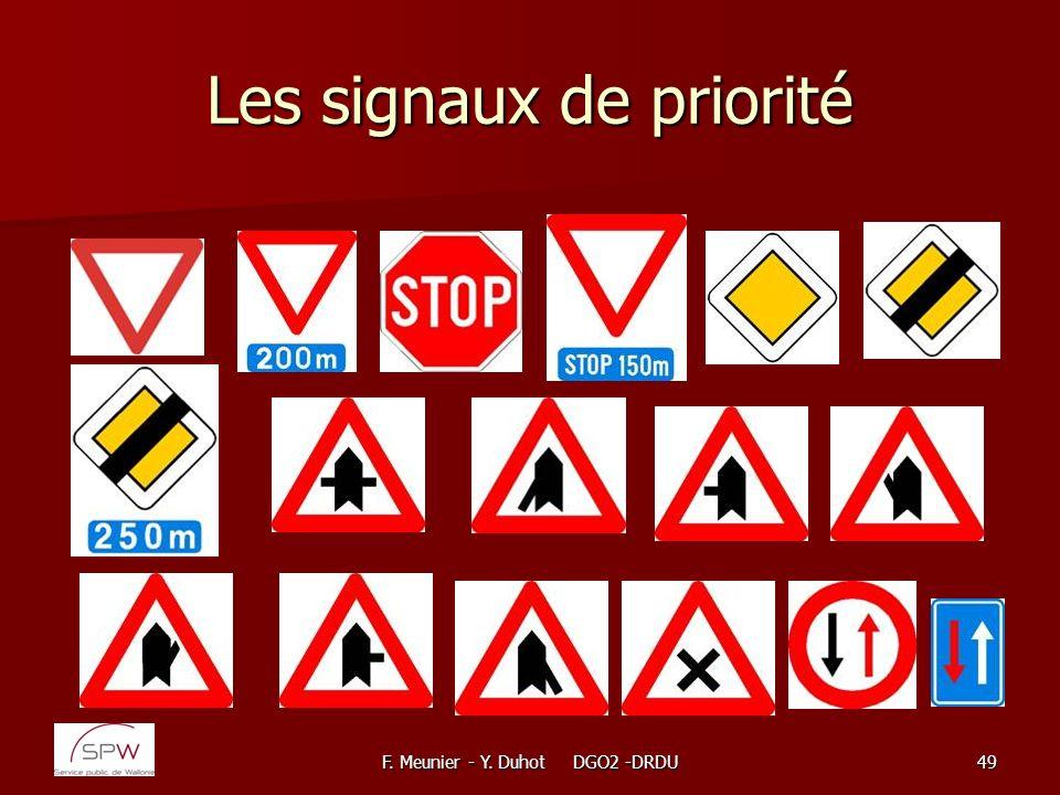 F. Meunier - Y. Duhot DGO2 -DRDU49 Les signaux de priorité